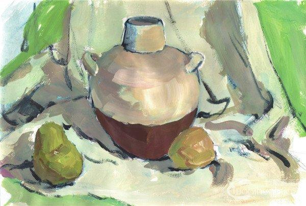 水粉静物组合罐子和水果的入门画法(2)