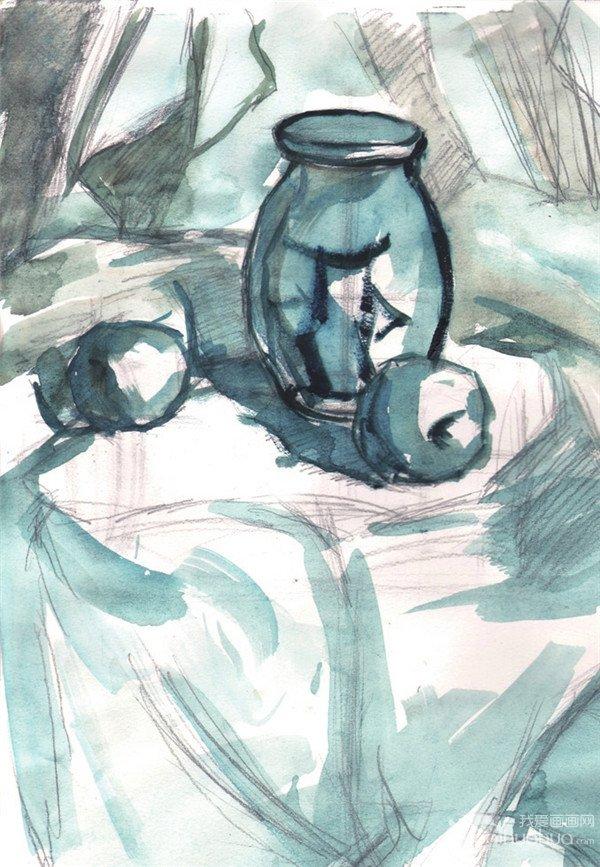 水粉静物组合写生入门:玻璃瓶和水果组合的画法_水彩