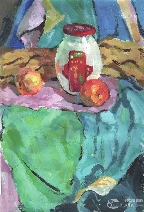 水粉静物组合写生入门:玻璃瓶和水果组合的画法(2)