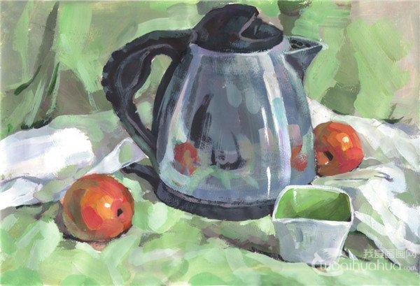 水粉不锈钢水壶组合绘画步骤五 不锈钢水壶静物写生步骤六:着重刻画