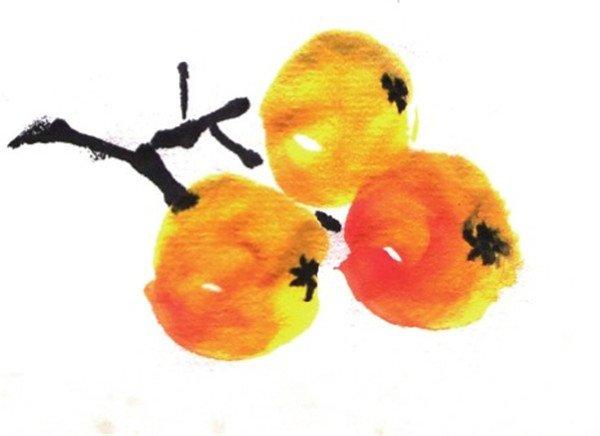 国画水果枇杷的画法教程