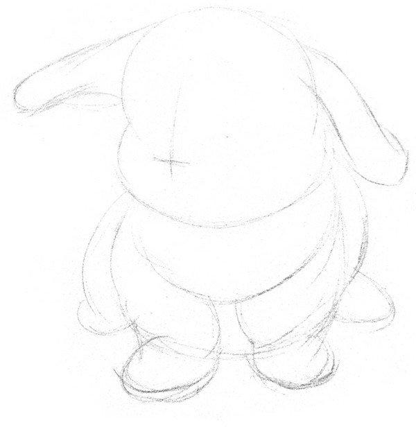 1、轻轻地打形,大致区分出脑袋、身子和四肢,加上一对长耳朵。头占了一半高,在脸的中心画十字线确定脸的转向。  素描兔子的绘画步骤一 2、用精确的线条描绘出小兔子身体的各部分轮廓。  素描兔子的绘画步骤二