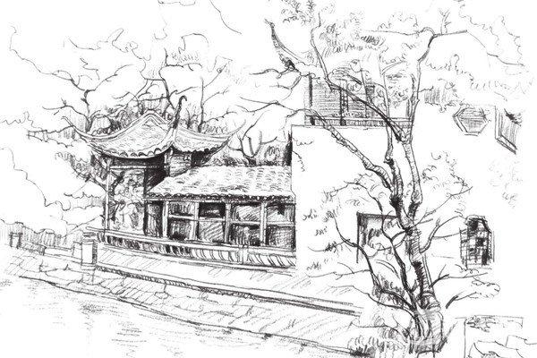 宏村速写图:宏村钢笔画风景速写