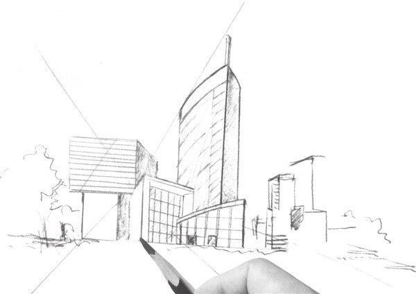 风景速写透视训练三    1,用虚线勾出画面景物的位置和细节,注意