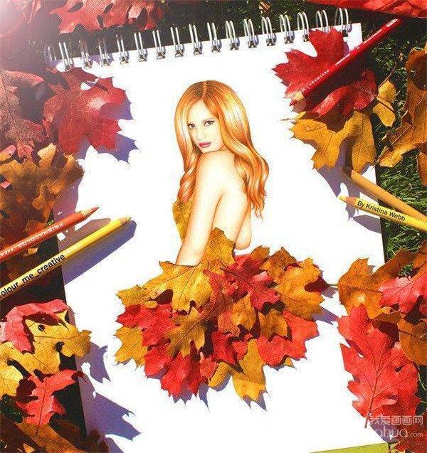kristina webb创意彩铅画,枫叶飘落的季节浪漫诗意,模特将枫叶穿在