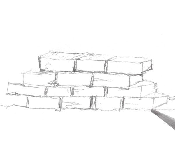 速写砖墙建筑质感的表现技法图片