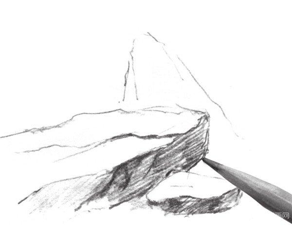 太原唐晋画室 速写石头质感的绘画步骤