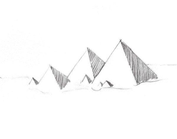 速写金字塔倒影 绘画步骤    1,用简单的线条画出山的大致轮廓