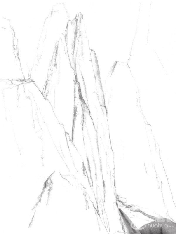 12、用明暗的表现将山的线条中暗部的地方加深,凸显立体感和空间感。  高山的画法步骤十二 13、强调出高山的明暗及造型,明暗有时可以用纸轻擦一下,表现出自然的效果。  高山的画法步骤十三 14、调节和进一步刻画山的细节,注意画面的整体效果,完成画面的绘制。  高山的画法步骤十四 山脉是沿一定方向有规律分布的若干相邻山岭的总称。山系是沿一定方向延伸,在成因上有联系、有规律分布的若干相邻山脉的总称。