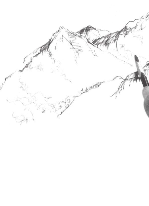 > 速写高山阴影技法入门教程(3)      4,添加山的造型,灵活地运用线的