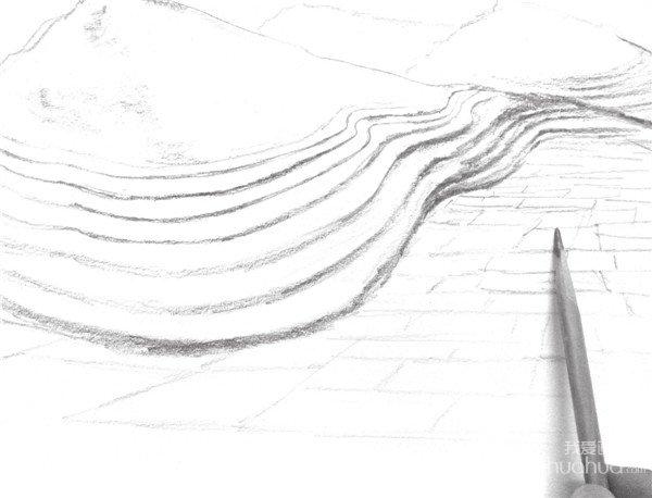 速写丘陵风景的绘画步骤教程六