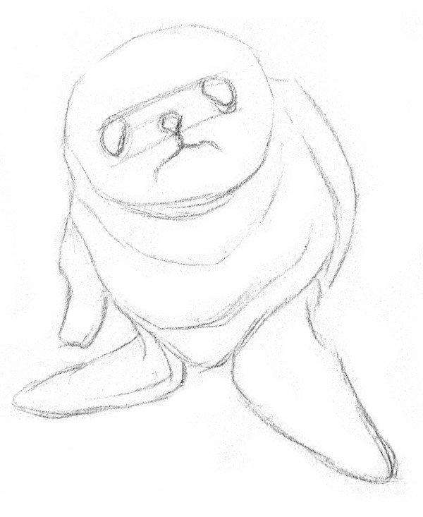 1、初步打形,区分出小海豹的头、身子和两只鳍,脸部中心画十字线来确定。  素描小海豹的绘画步骤教程一 2、细致描绘出身体各部分的轮廓,在脸上画出五官,可以添加一些辅助线来帮助定位。小海豹的头微微仰起,眼睛和鼻子靠得比较近。  素描小海豹的绘画步骤教程二
