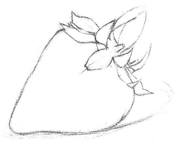 一,素描草莓的绘画步骤    1,大概勾画出物体的辅助线.图片
