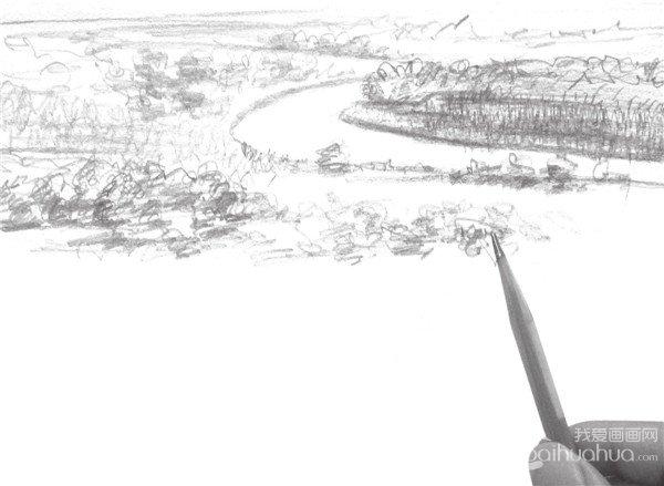 学画画 速写教程 速写场景 > 速写平原风景的技法(2)      4,将景物的
