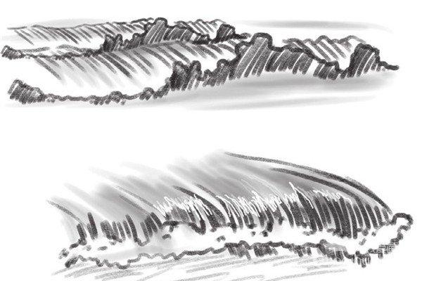 速写波浪的绘画步骤