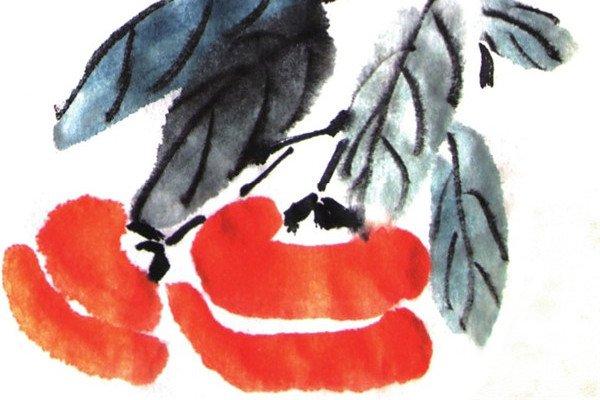 国画柿子的绘画教程