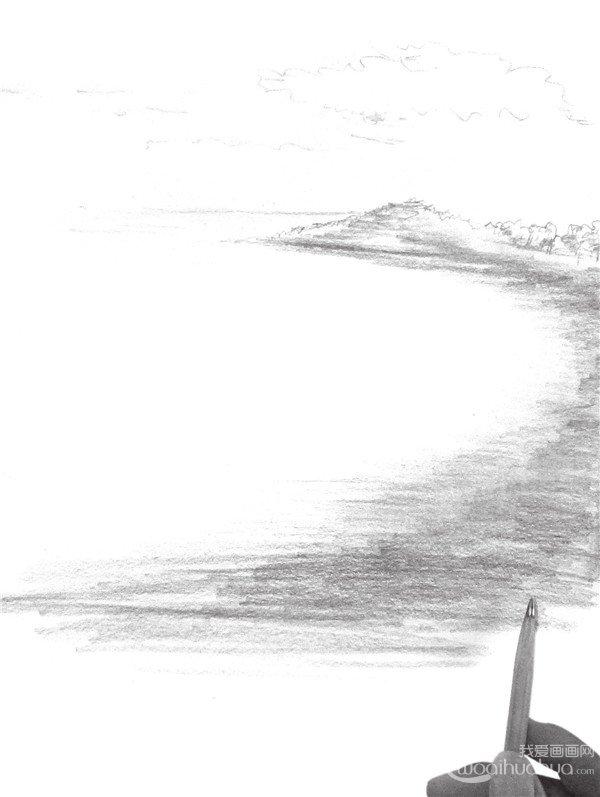 7、将画面后面的景物细化,但不要太细,以免喧宾夺主,影响了前面的画面效果。  速写大海的绘画步骤七 8、再次强调海岸的明暗关系,逐次由深向浅地过渡,虚实变化要得当。  速写大海的绘画步骤八 9、添加细节纹理,能更好地表现出山的质感,并调节画面,完成画面的绘制。  速写大海的绘画步骤九 上述九步骤,轻松就完成一幅大海的国画作品了!你也来试试吧!