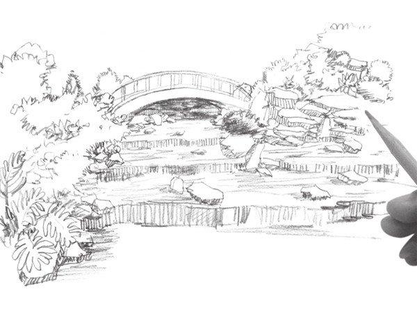 速写小溪的绘画步骤(3)