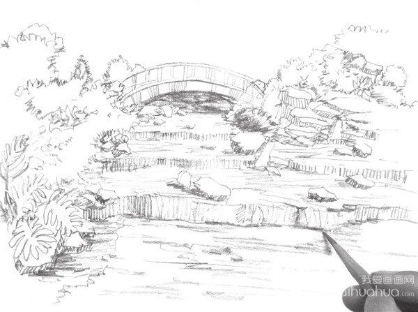 简笔画湖泊风景图