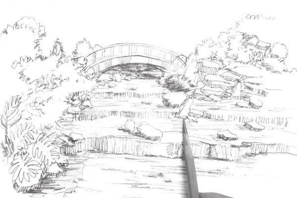 速写小溪的绘画步骤
