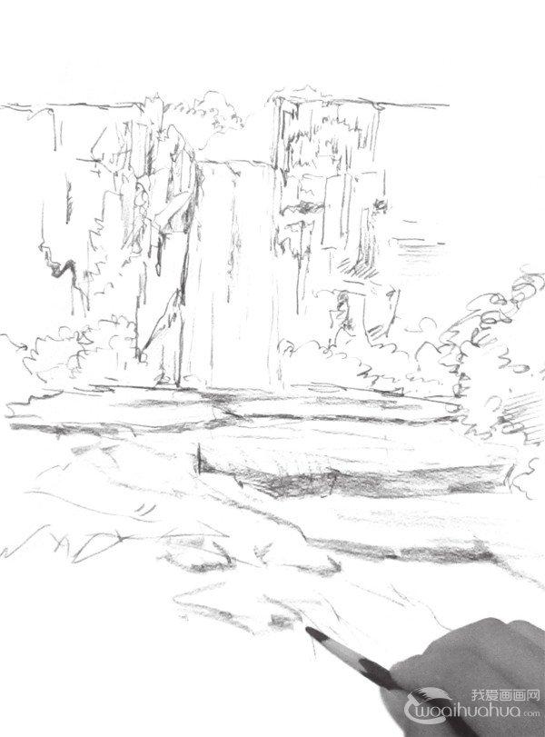 速写场景 > 速写瀑布的绘画技法(3)                  5,添加出石头的