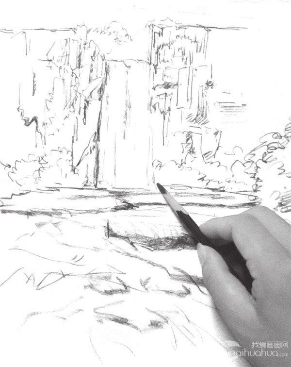 速写瀑布的绘画技法 4