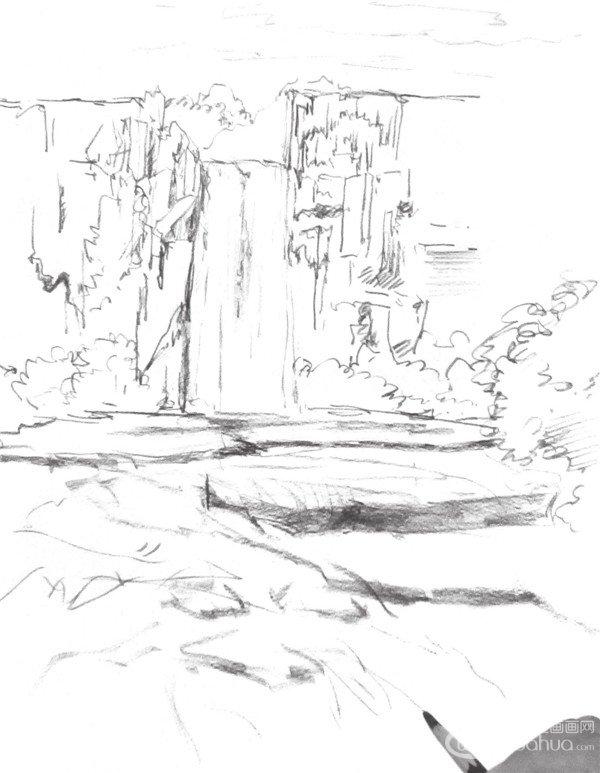 > 速写瀑布的绘画技法(4)                  7,画出水流的线条和质感图片