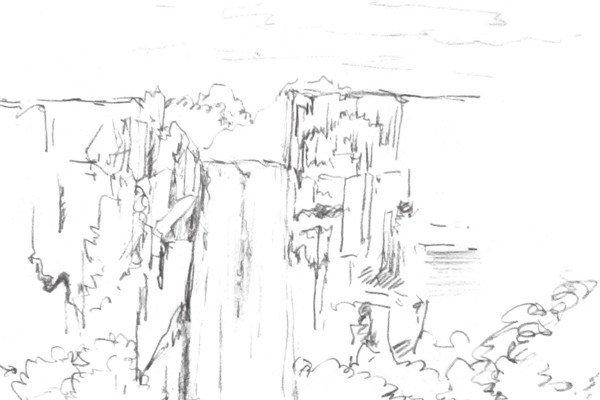 速写瀑布的绘画技法