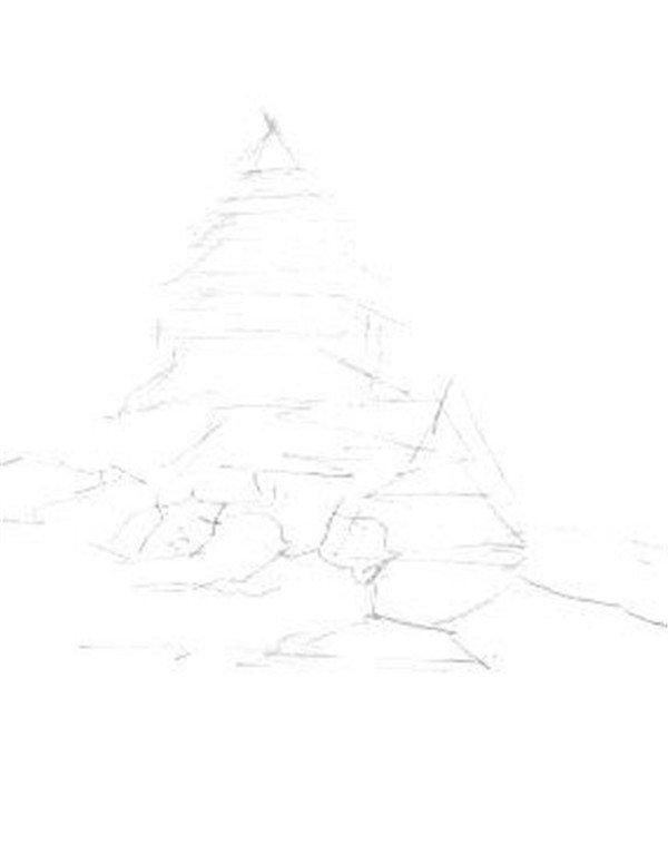 素描大树的画法-速写单个树木的四中技法图片