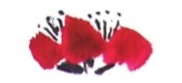 国画梅花的入门技法步骤三 4,画黄梅调藤黄色,笔尖蘸赭石画花瓣.