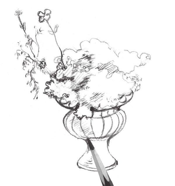 1、用简单的线条将盆花的轮廓线大致勾出来,并将花盆底部的阴影画出来。  速写盆花的绘画步骤教程一 2、修改轮廓线,并用重一点的线条将花盆的轮廓线条表现出来。  速写盆花的绘画步骤教程二 3、继续添加花盆的造型,注意花盆线条的运用要与花朵区分开。  速写盆花的绘画步骤教程三 4、添加出花朵的明暗,并用细致的线条排列出来,注意阴影的部分要重一些。