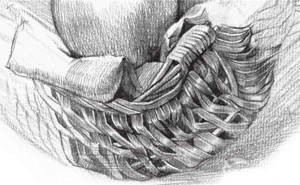 素描苹果篮的绘画步骤教程 3图片