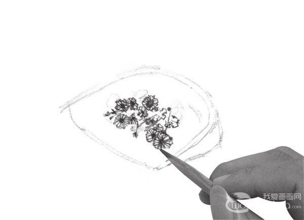 速写簸箕与花的绘画教程图片