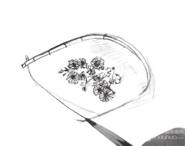 簸箕与花的画法步骤五-速写簸箕与花的绘画教程 3图片