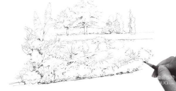 4、细化高处的坡面,刻画出坡面的植被,并添加坡面边缘的阴影,增加坡面的体积感。  山边植物的画法步骤四 5、继续刻画下面的植株,不断丰富完善画面,注意上下面的空间感。  山边植物的画法步骤五 6、进一步调整修饰整体的画面,注意画面整体的虚实关系,山边景物就完成了。  山边植物的画法步骤六 场景的构图是可以有一定的控制的,经常使用到的基本构图法则有水平构图、一角构图、斜线构图和散点构图等。