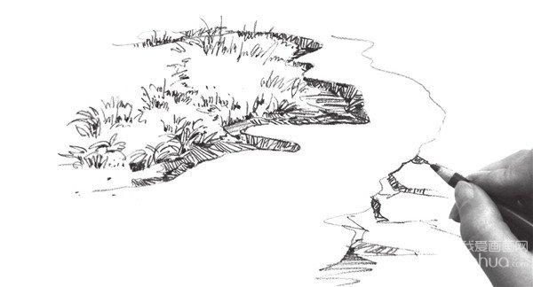3、加强画面细节的绘制,注意仔细刻画出草丛周围石头的造型。  速写草丛的光影效果技法步骤三 4、在细致刻画的同时不要忽略了画面的整体效果。  速写草丛的光影效果技法步骤四 5、添加出草坪的外形,注意草坪的绘制要有空间感,不要画得太满。  速写草丛的光影效果技法步骤五 6、仔细刻画出草丛周围石头的造型。  速写草丛的光影效果技法步骤六 不同方向的线的组织穿插,给人的前后方向感是不一样的,它可以直接表现物体的透视方向。