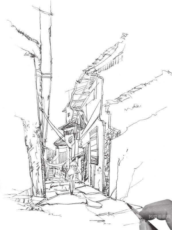 速写小巷的画法步骤五