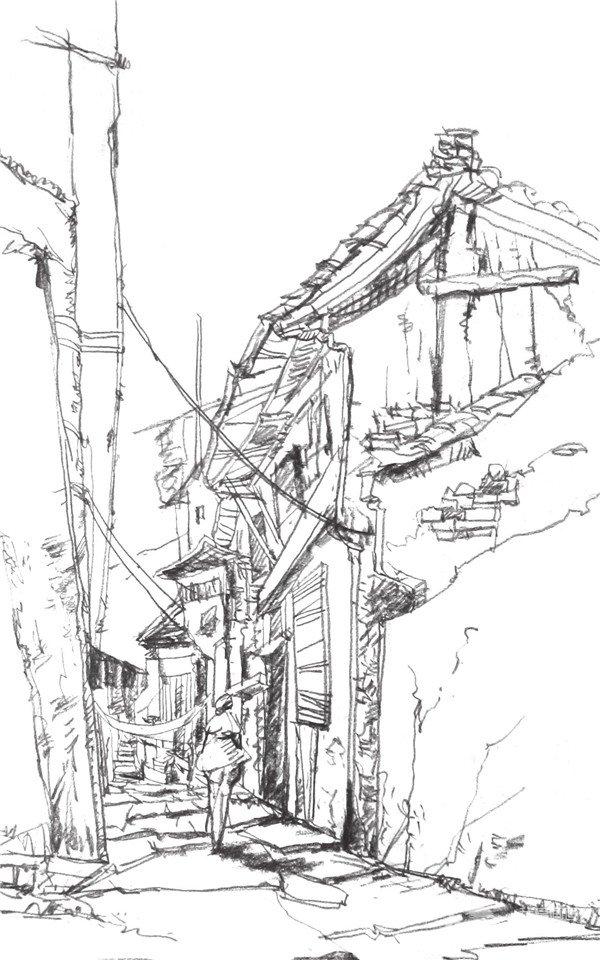 画建筑物时,建筑物的透视关系很重要,刻画时要多对比,多观察.