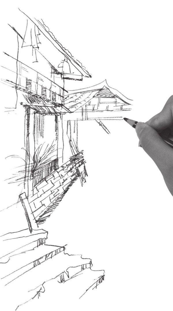 速写小巷房屋的绘画步骤(3)