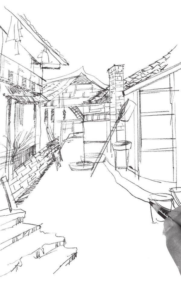 速写小巷房屋的绘画步骤(4)