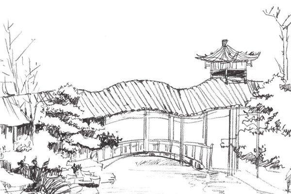 园林建筑的绘画步骤四