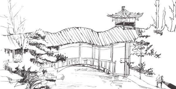 学画画 速写教程 速写场景 > 速写园林建筑的绘画教程(3)      5,继续