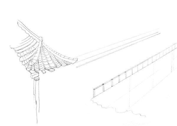 速写大桥的画法步骤一