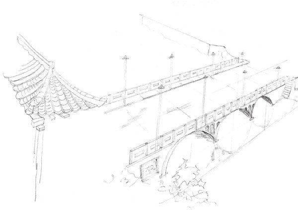 速写大桥的画法步骤四