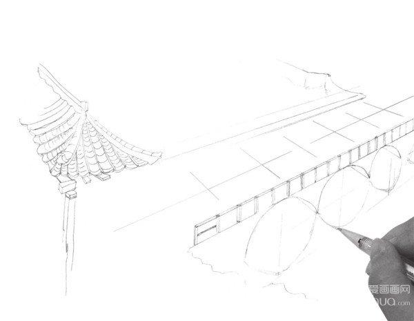 速写大桥的画法步骤三