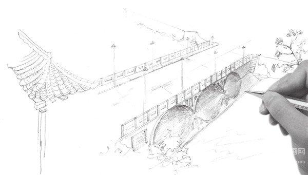 速写大桥的画法步骤七