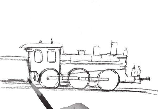 1、用虚线勾勒出火车大致轮廓,注意线条的虚实变化。  速写火车头的绘画步骤一 2、刻画火车头部,添加火车厢的阴影,注意火车厢与火车头的衔接。  速写火车头的绘画步骤二 3、继续刻画火车头的细节部分,刻画火车烟囱上的烟雾,添加地面阴影。  速写火车头的绘画步骤三