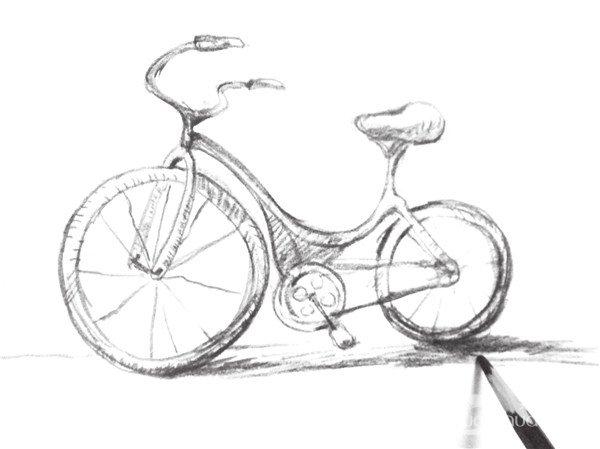 速写自行车的绘画技法(4)_速写教程_学画画_我爱画画网