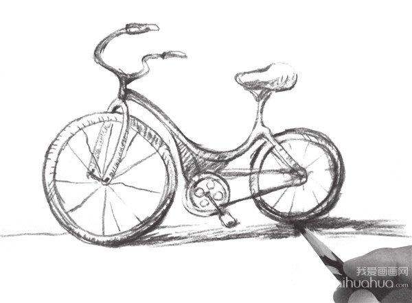 速写自行车的绘画步骤八