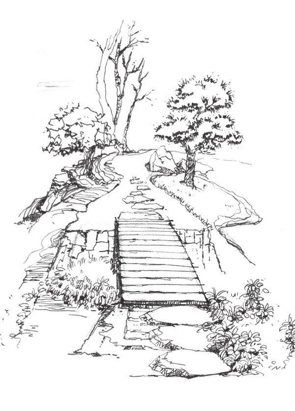 4、添加线条和阴影表现出桥的木质感,刻画并完成远景部分,注意远近虚实的变化,乡间道路就完成了。 乡间道路的画法步骤四 绘制时要注意将绘制风格的统一性融入到一个画面中,注意远近虚实的变化, 风景速写 的 绘